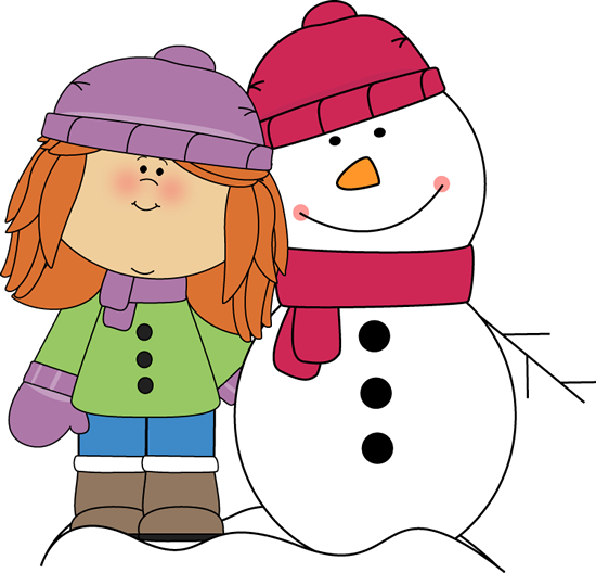 freeuse library Girl with Arm Around Snowman