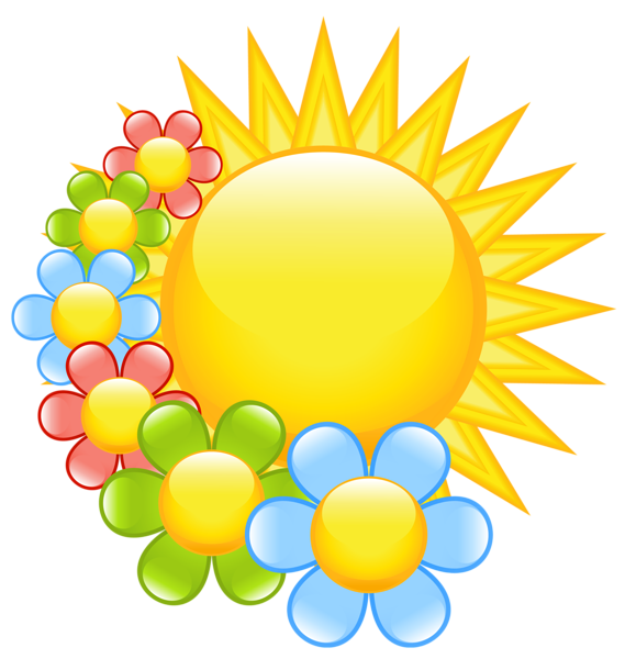 clip black and white download Spring Sun with Flowers Clipart