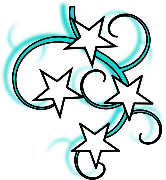 picture transparent stock Teal tattoo with outline. Clipart stars black and white