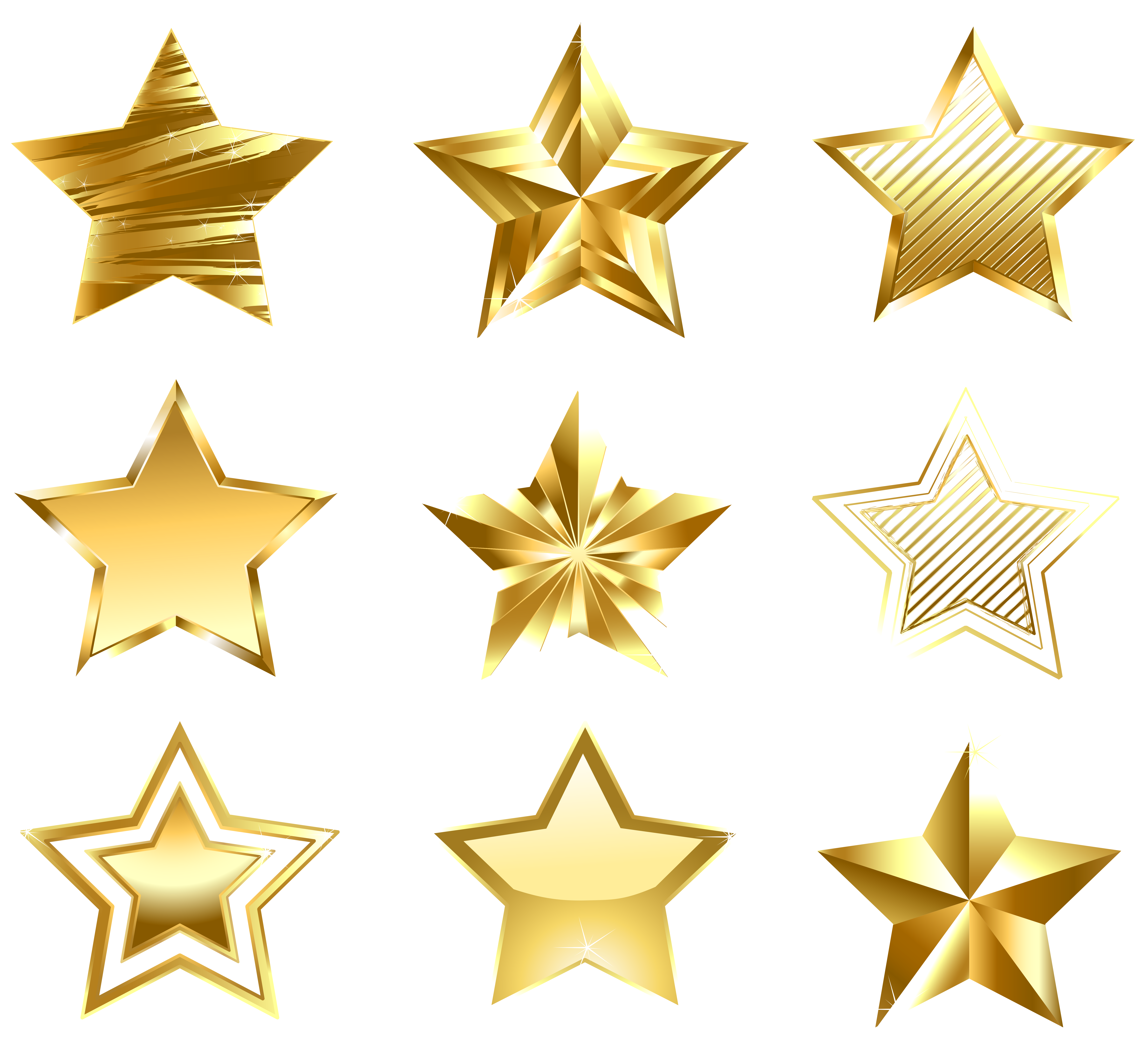 vector royalty free library Stars set png gallery. Golden clipart transparent