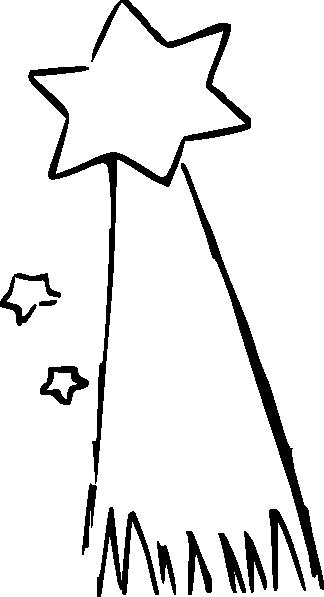 black and white stock Shooting Star Cartoon Clip Art