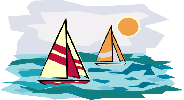 image royalty free Two Sailboats In Sunset Clip Art at Clker