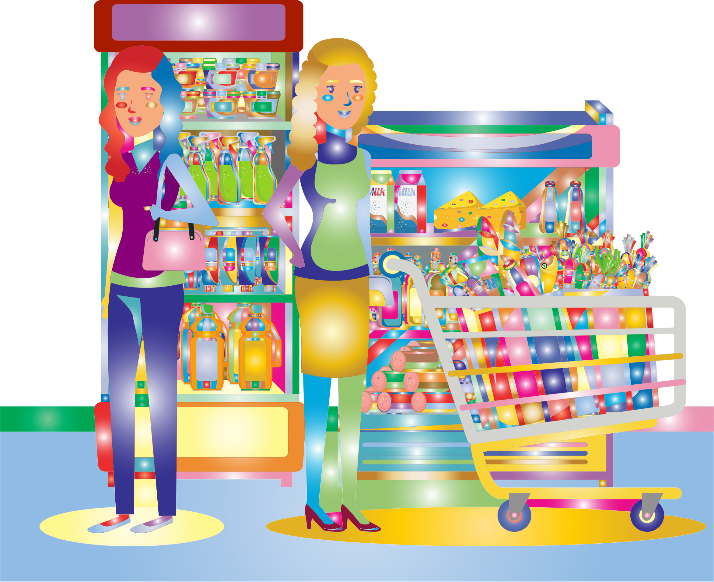 svg transparent library Clipart supermarket. Two women at the