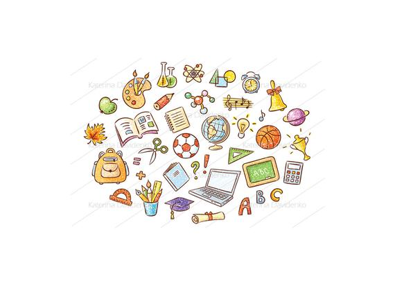 banner transparent library Doodle set of school. Clipart teaching