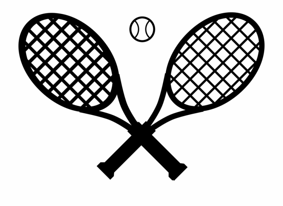 vector free download Rackets ball crossed black. Clipart tennis