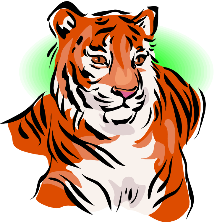 vector black and white stock Tiger clipart. Free