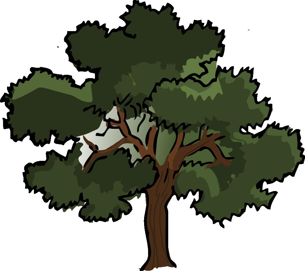 clip art black and white Oak tree PNG