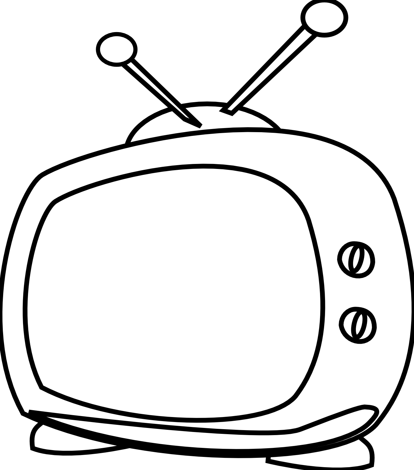 graphic download Watching Tv Clipart Black And White