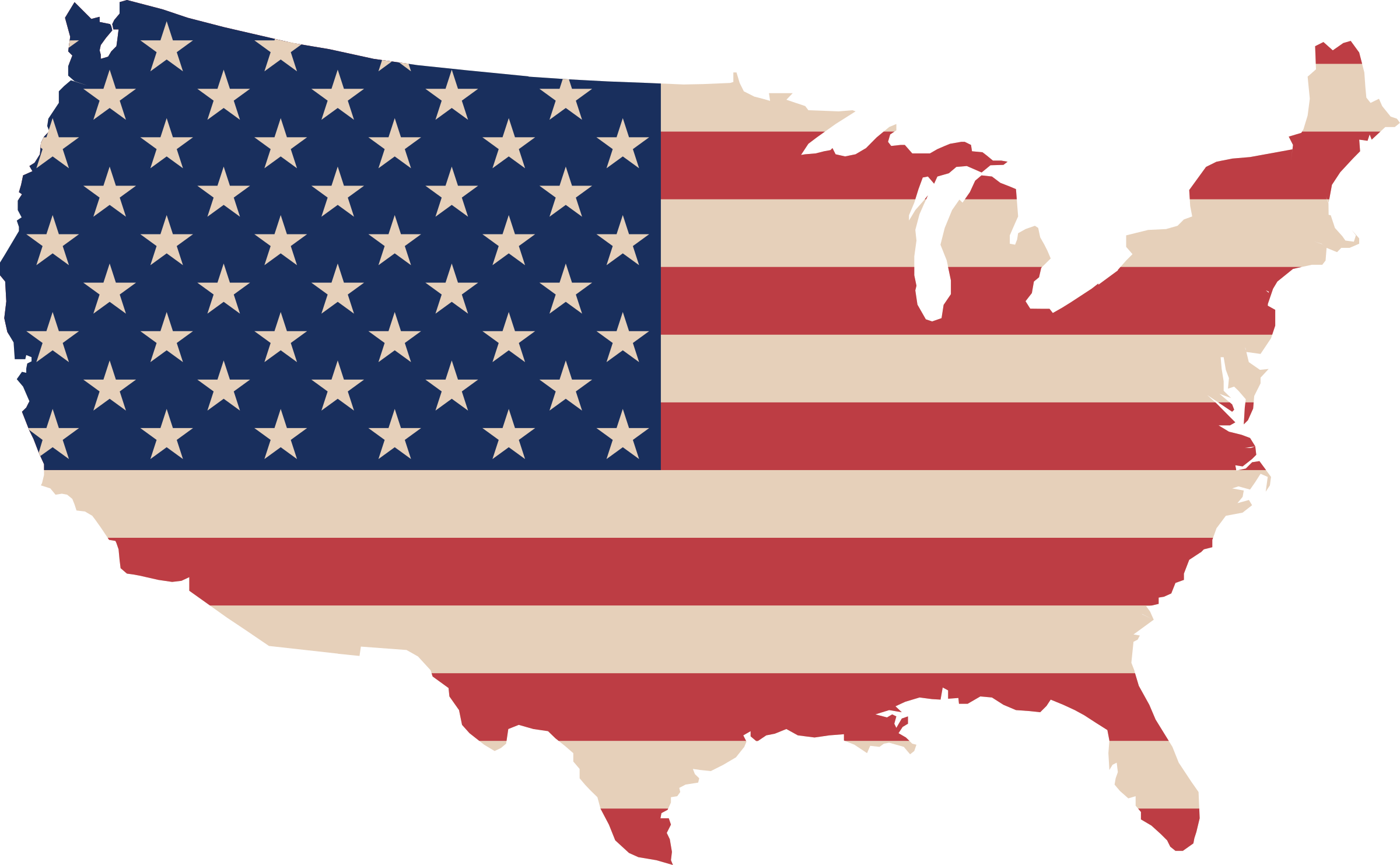 clip black and white library Clipart map and flag. Usa transparent