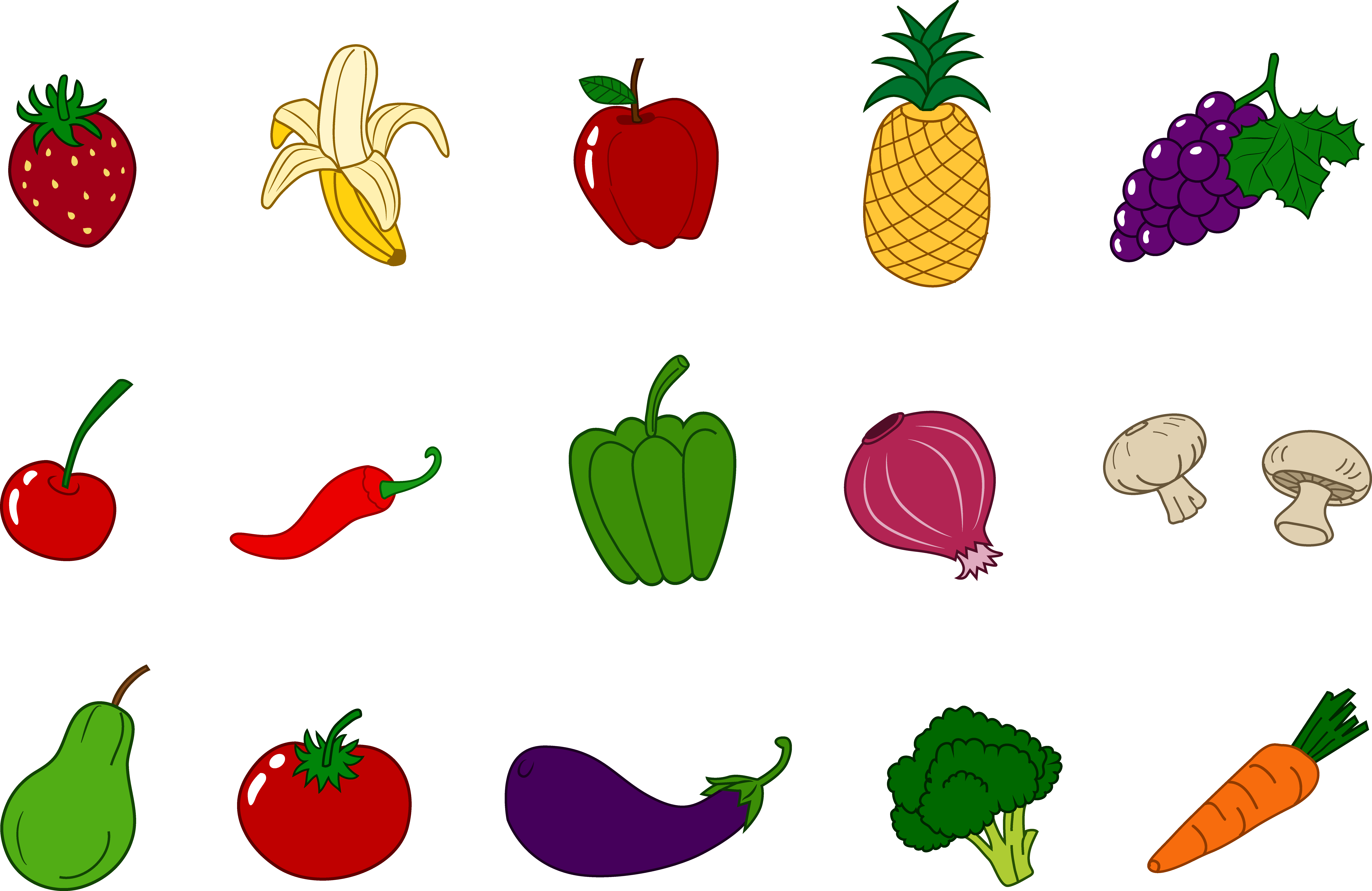 clip black and white library Clip Art Fruits And Veggies Clipart