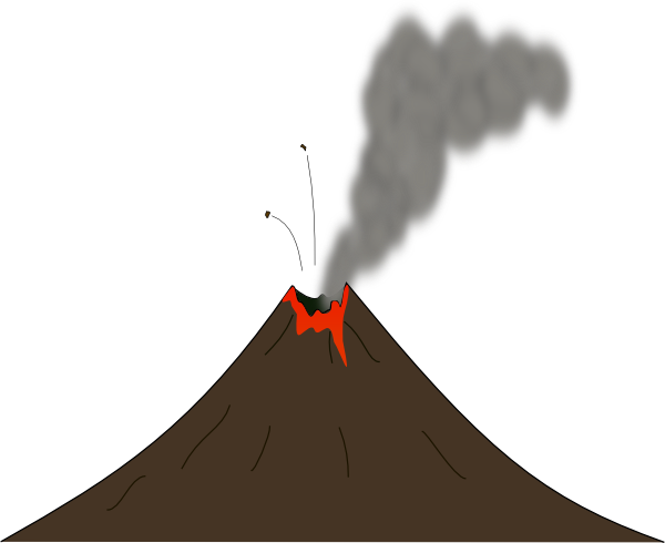 clipart black and white stock Real Animated Volcano Clipart