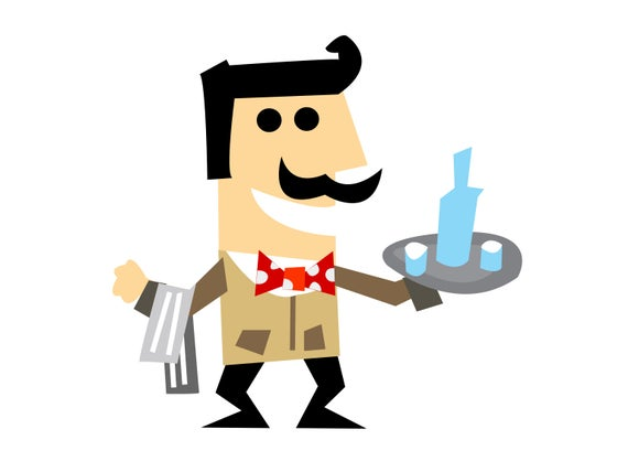 banner library stock Clipart waiter. Svg food service image