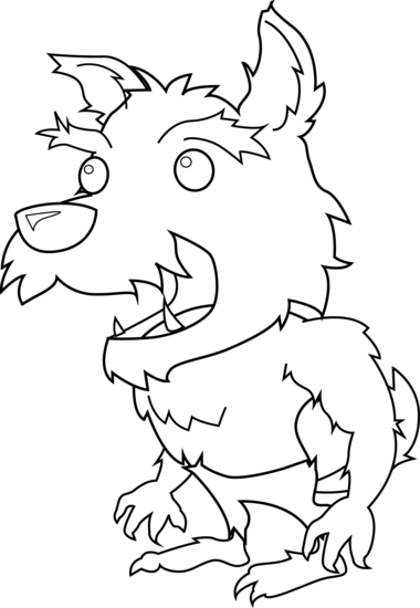picture library Clipart werewolf. Scary little coloring page