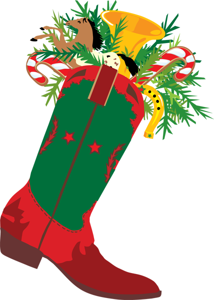 clip transparent library Christmas a cowboy boot. Clipart western theme