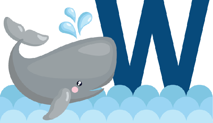vector transparent stock Clipart whale. Alphabet w for the