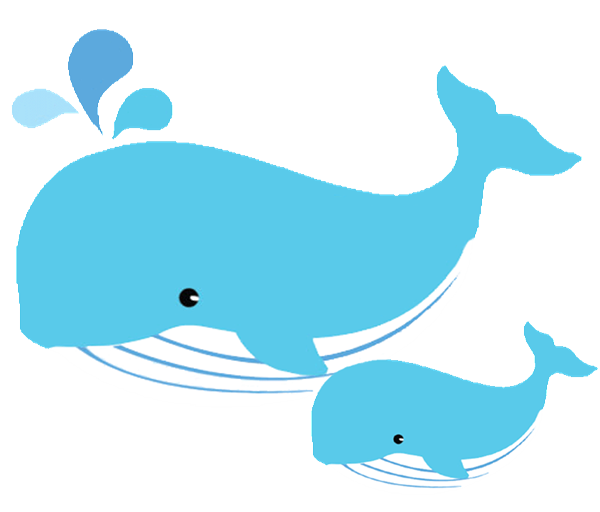 image black and white Mom and baby whales. Blue whale clipart