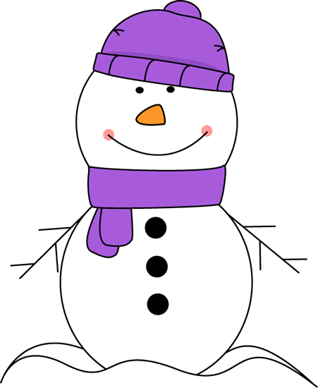 clip art transparent download Snowman Wearing Purple Scarf and Hat Clip Art