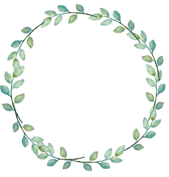 jpg library library Greenery leafy laurel watercolor. Clipart wreath