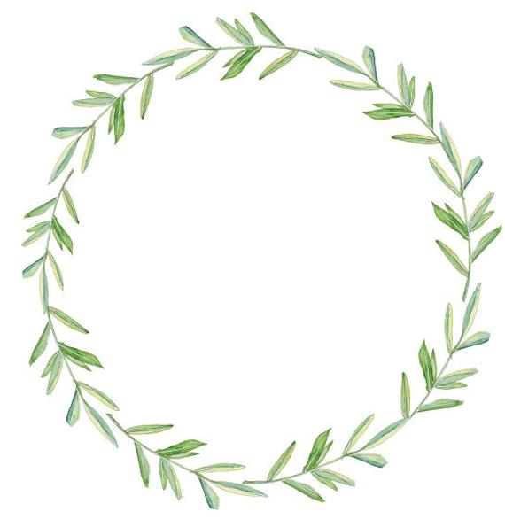 clipart freeuse library Greenery leafy watercolor minimalist. Clipart wreath