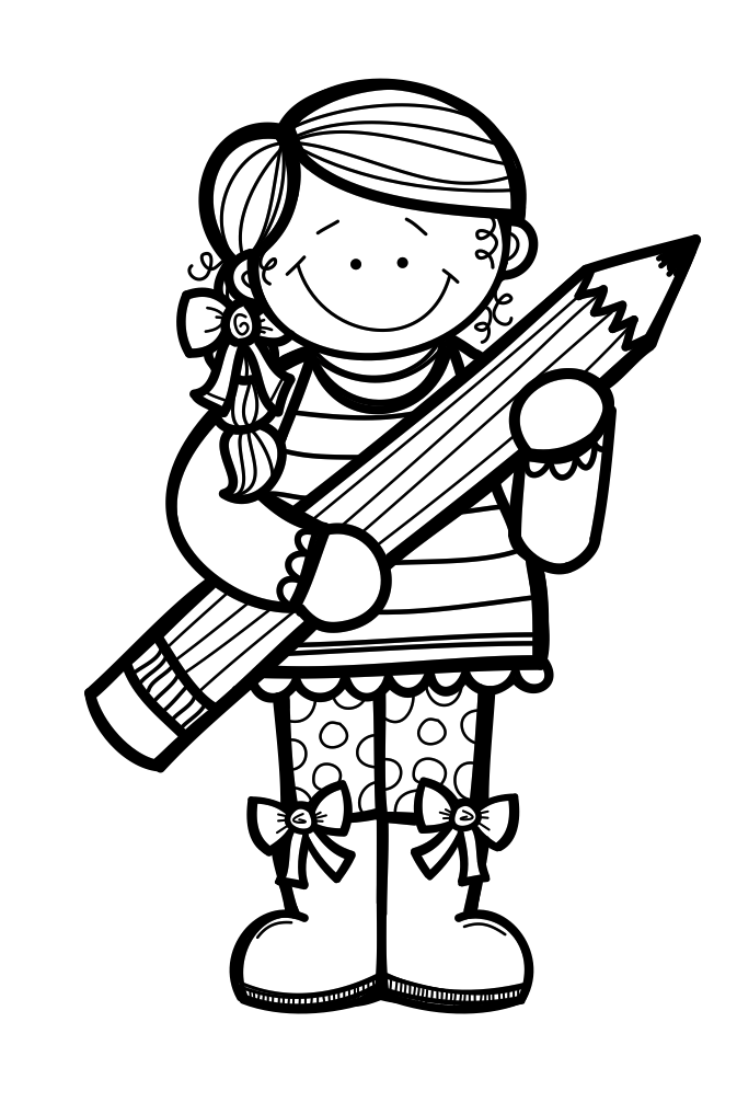 royalty free stock Kindergarten clipart black and white. Little miss lessons from