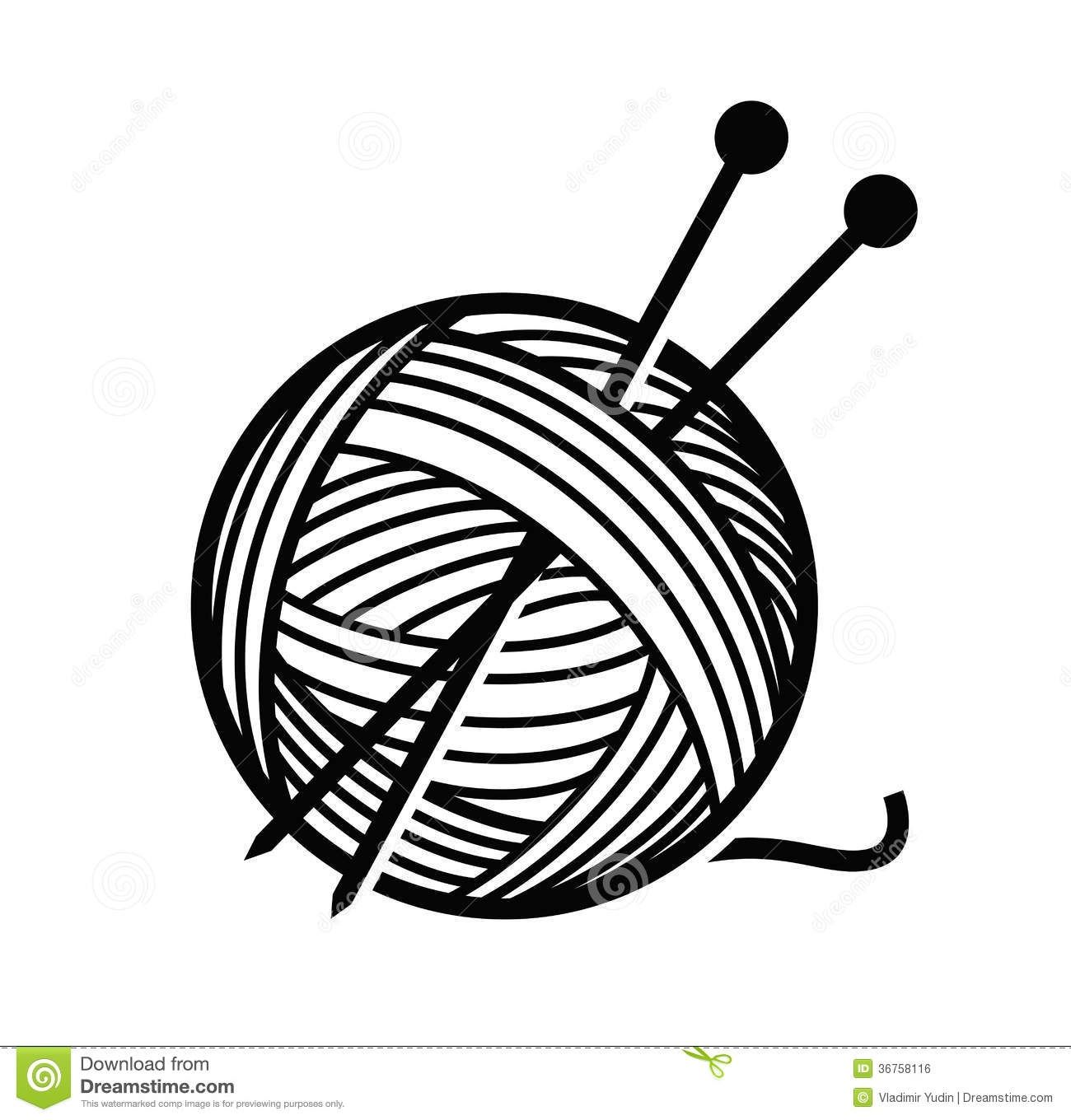 svg royalty free library Clipart yarn and knitting needles.  knit for free