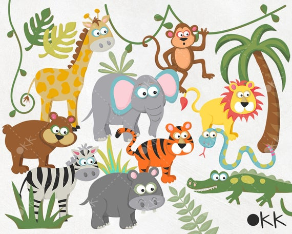 png freeuse Safari jungle wild animals. Clipart zoo.