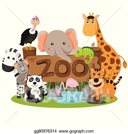 clip art royalty free library Vector stock illustrator of. Clipart zoo animals.