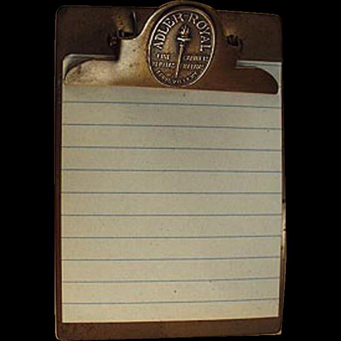 image black and white Vintage advertising adler royal. Clipboard clip antique
