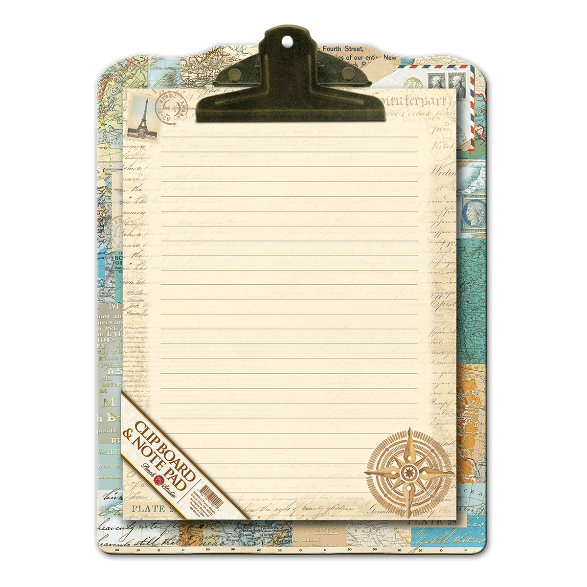 png freeuse download Clipboard clip antique. World atlas notepad punch