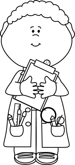 banner royalty free library Boy scientist with a. Clipboard clipart black and white