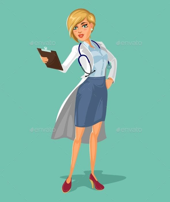 picture download Vector doctor woman. D holding clipboard in