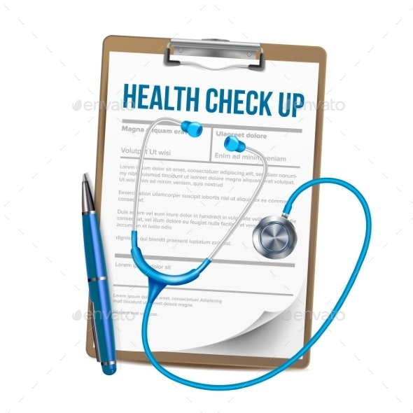 clip freeuse library Clipboard with list of. Vector doctor health check.