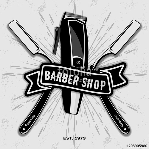 jpg black and white download Barber shop vintage label