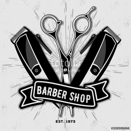 clipart freeuse library Barber shop vintage label