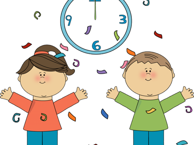 graphic library stock Clock clipart happy. New year streamer free.