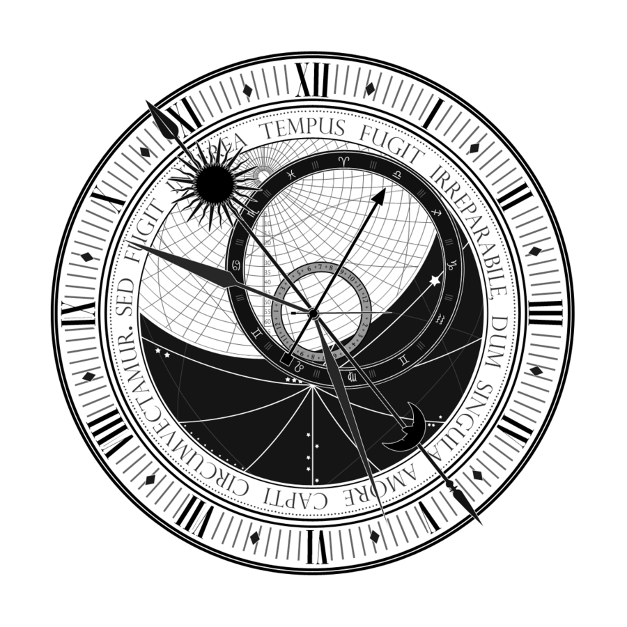 clip library astrological clock