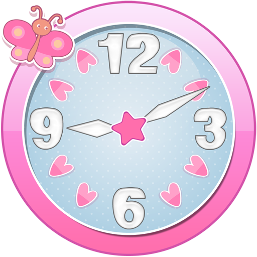 clip black and white library Cute clock widget apps. Clocks clipart girly.