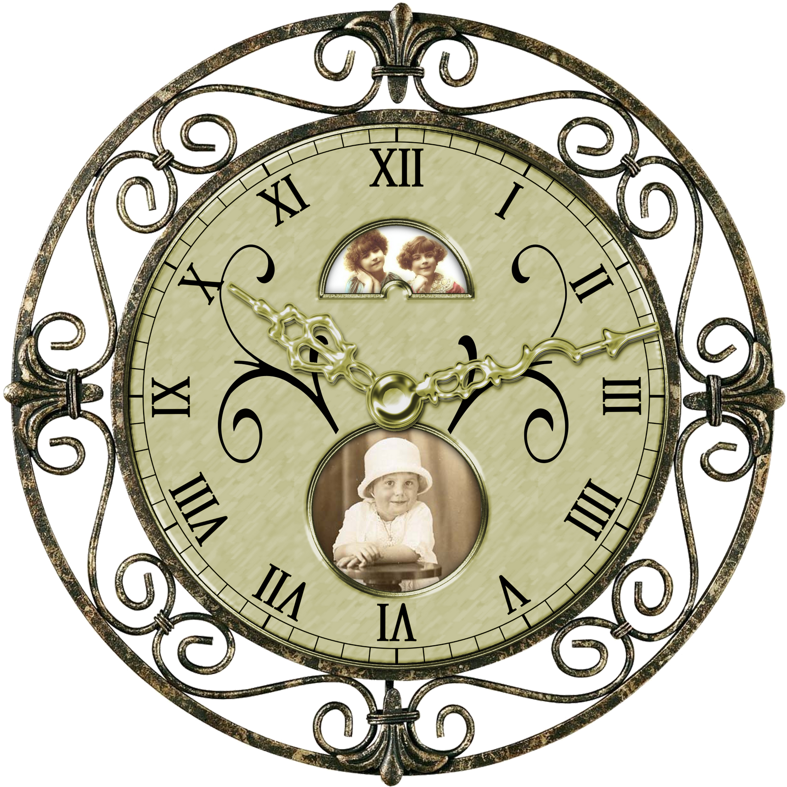 banner black and white Transparent free for . Clocks clipart girly.