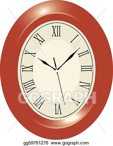 graphic library Vector illustration wall clock. Clocks clipart oval.
