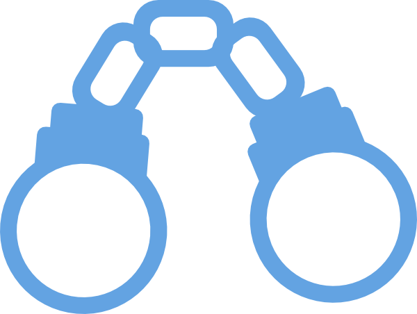 svg Handcuffs light blue cartoon. Closed clipart.