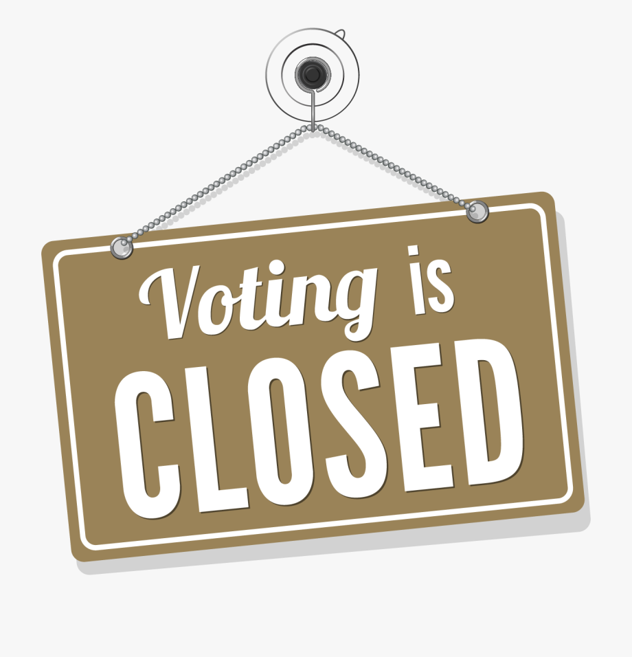 png black and white stock Closed clipart now. Sign png voting is.
