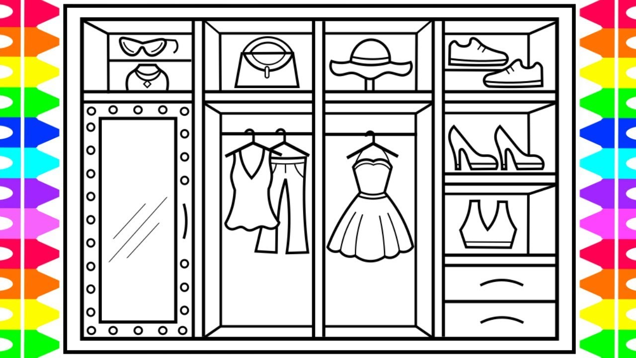 image black and white How to draw a. Closet drawing.