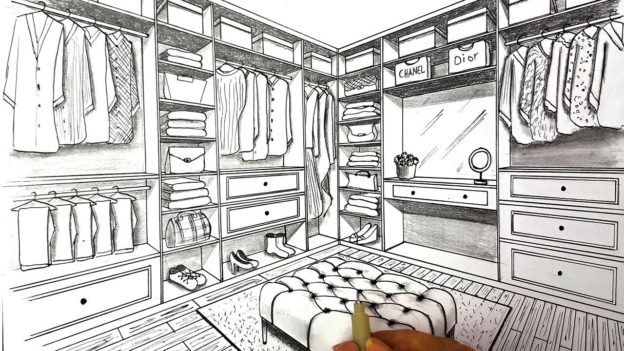 clip art library download Closet drawing. A in two point.