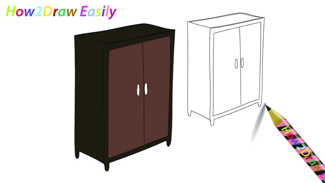 image freeuse library Wardrobe coloring furniture draw. Closet drawing easy