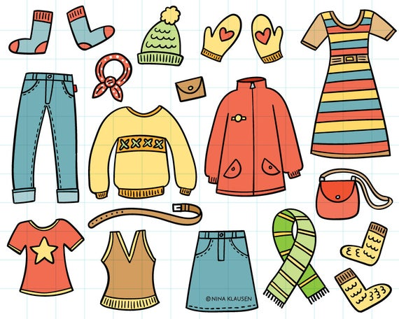 vector library stock Clothes clipart. Doodle winter illustration .