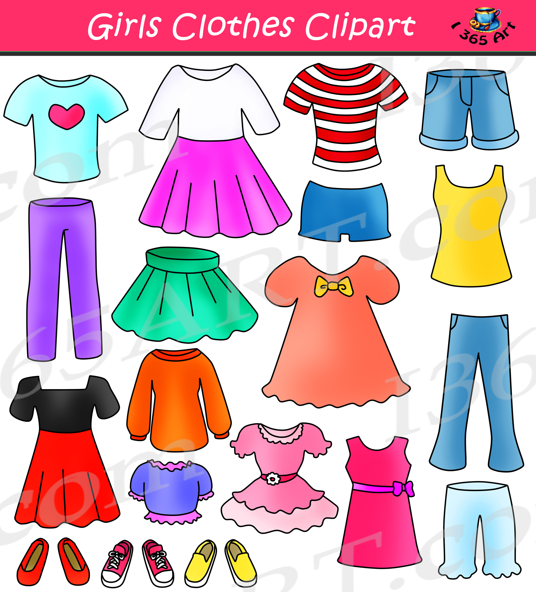 clip freeuse download Girls set dress up. Clothes clipart