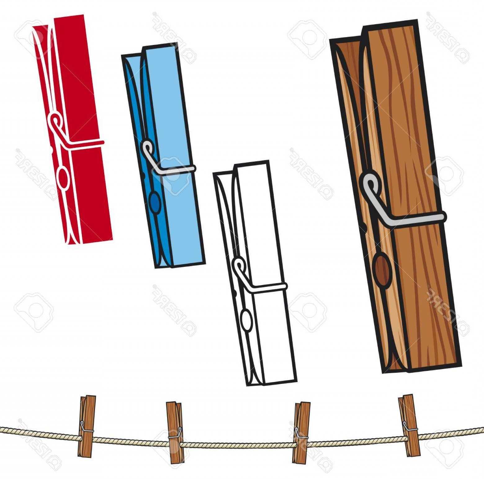 vector black and white library Clothespin clipart. Photoclothespin and rope clothes.