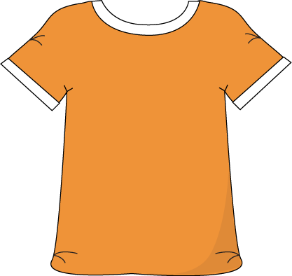 clip art black and white Orange clothing . Shirts clipart kid shirt