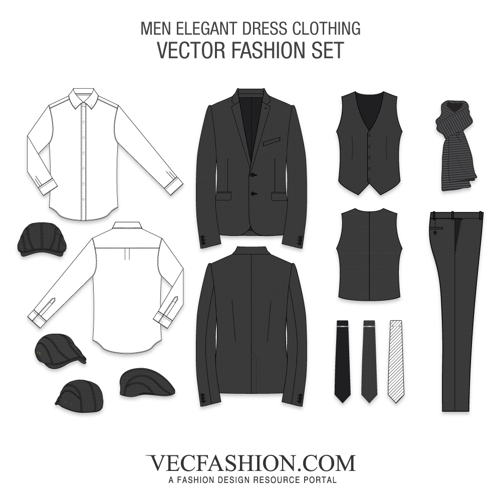 banner black and white download Men Dress Clothing Vector Set