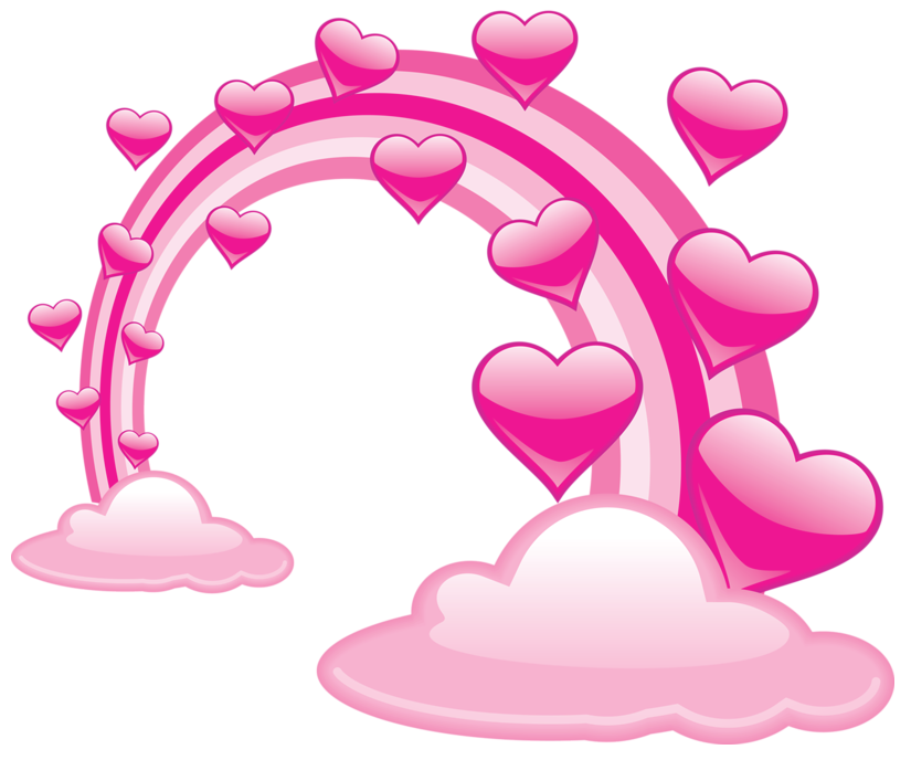 download Pink valentine clouds with. Cloud clipart heart.